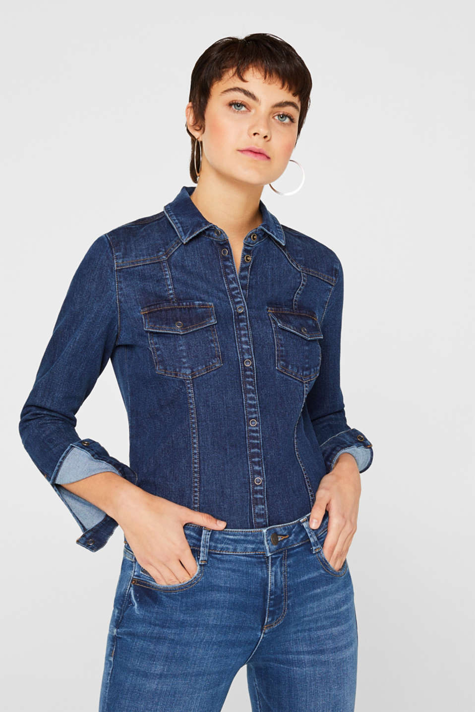 edc - Camicia in denim stretch con bottoni automatici