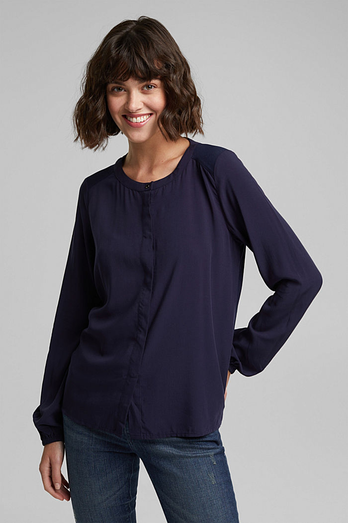 Blouse made of a material mix, NAVY, detail image number 0