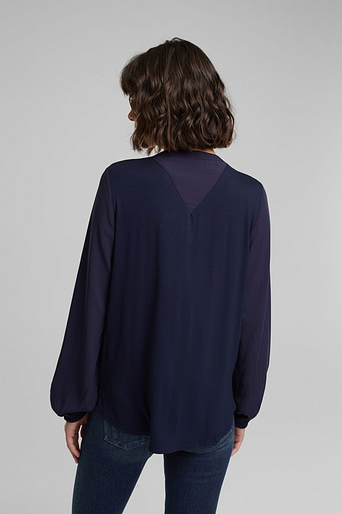 Blouse made of a material mix, NAVY, detail image number 3