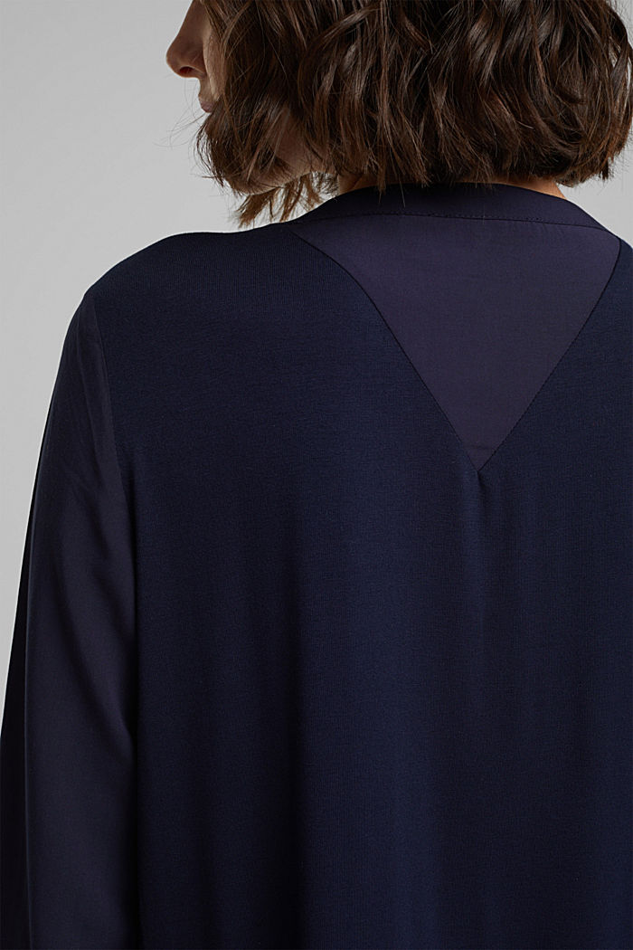 Blouse made of a material mix, NAVY, detail image number 5
