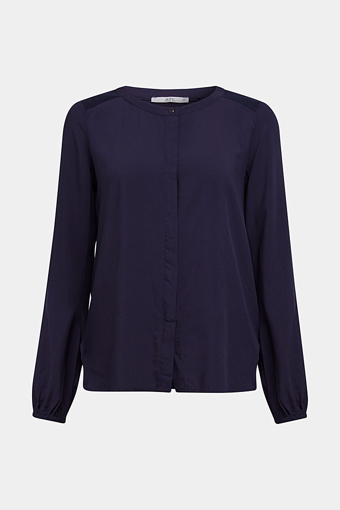 Blouse made of a material mix, NAVY, detail image number 6