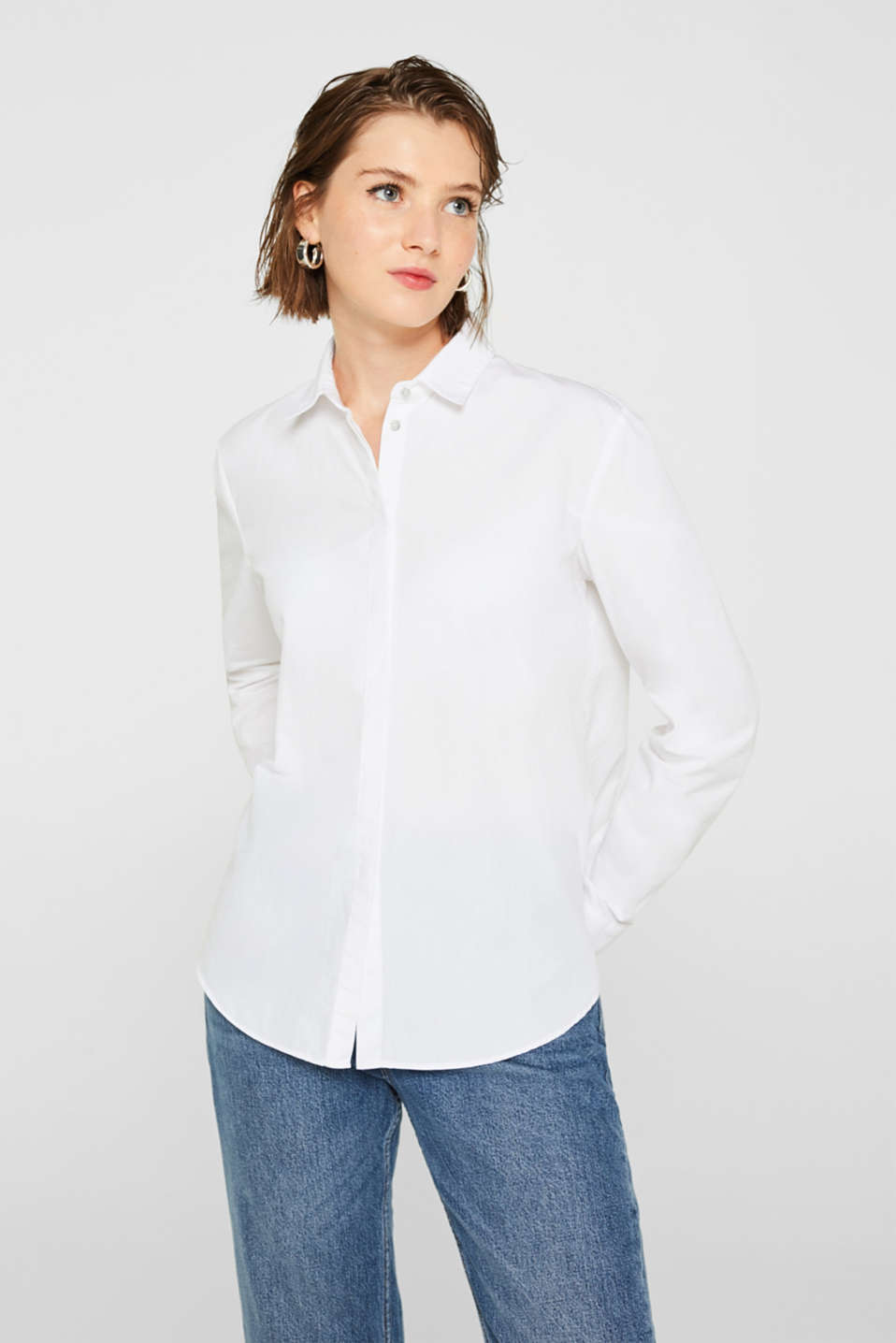 edc - Blouse with a high-low hem, 100% cotton