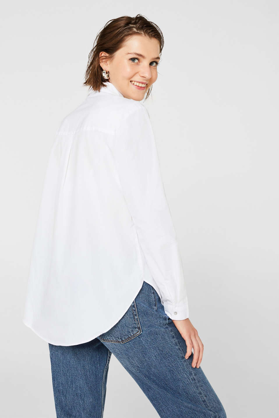 Blouse with a high-low hem, 100% cotton, WHITE, detail image number 3