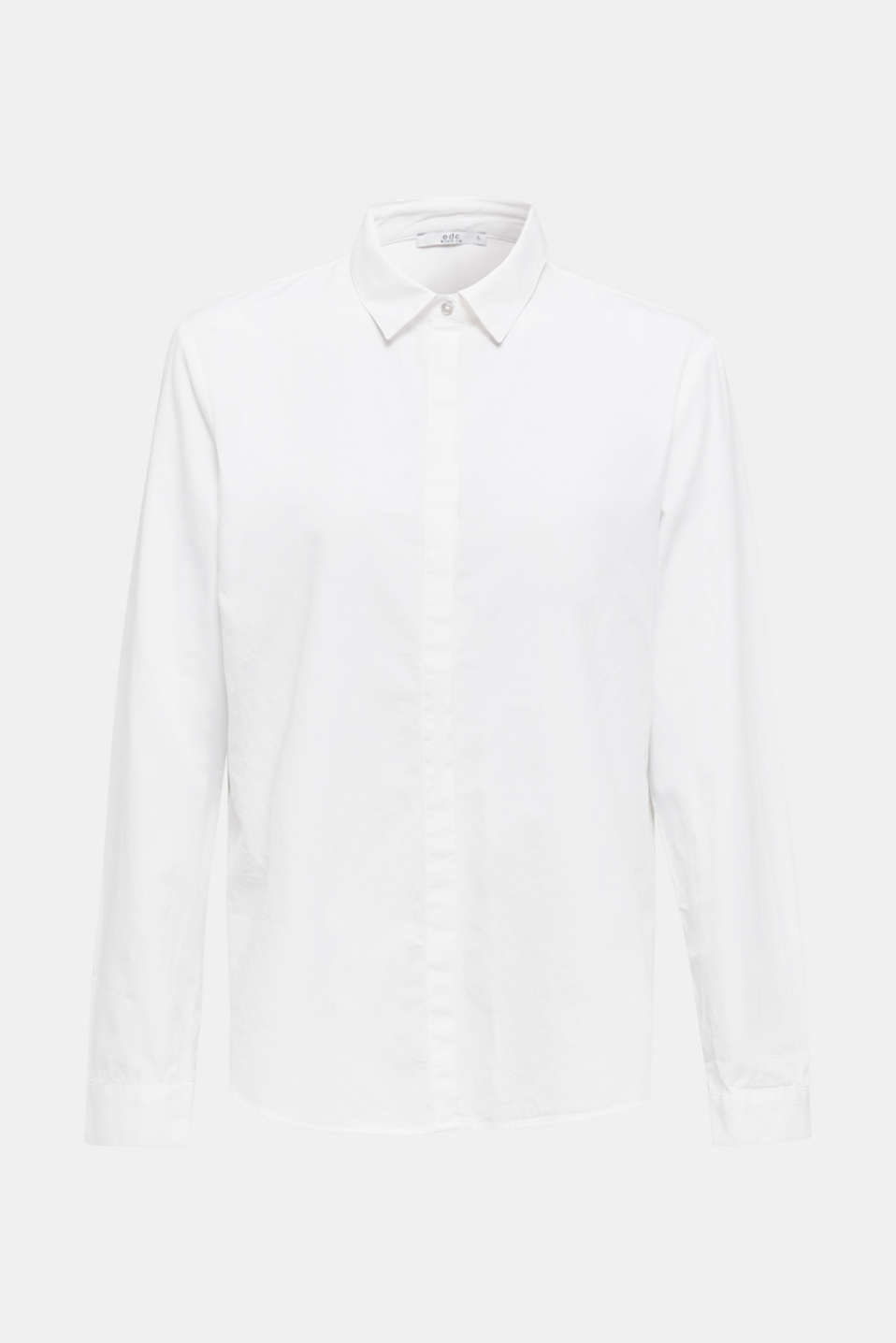Blouse with a high-low hem, 100% cotton, WHITE, detail image number 7