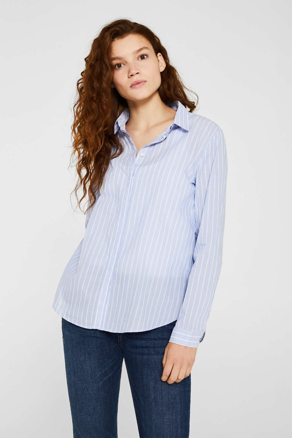 Striped blouse in 100% cotton, LIGHT BLUE, detail image number 0