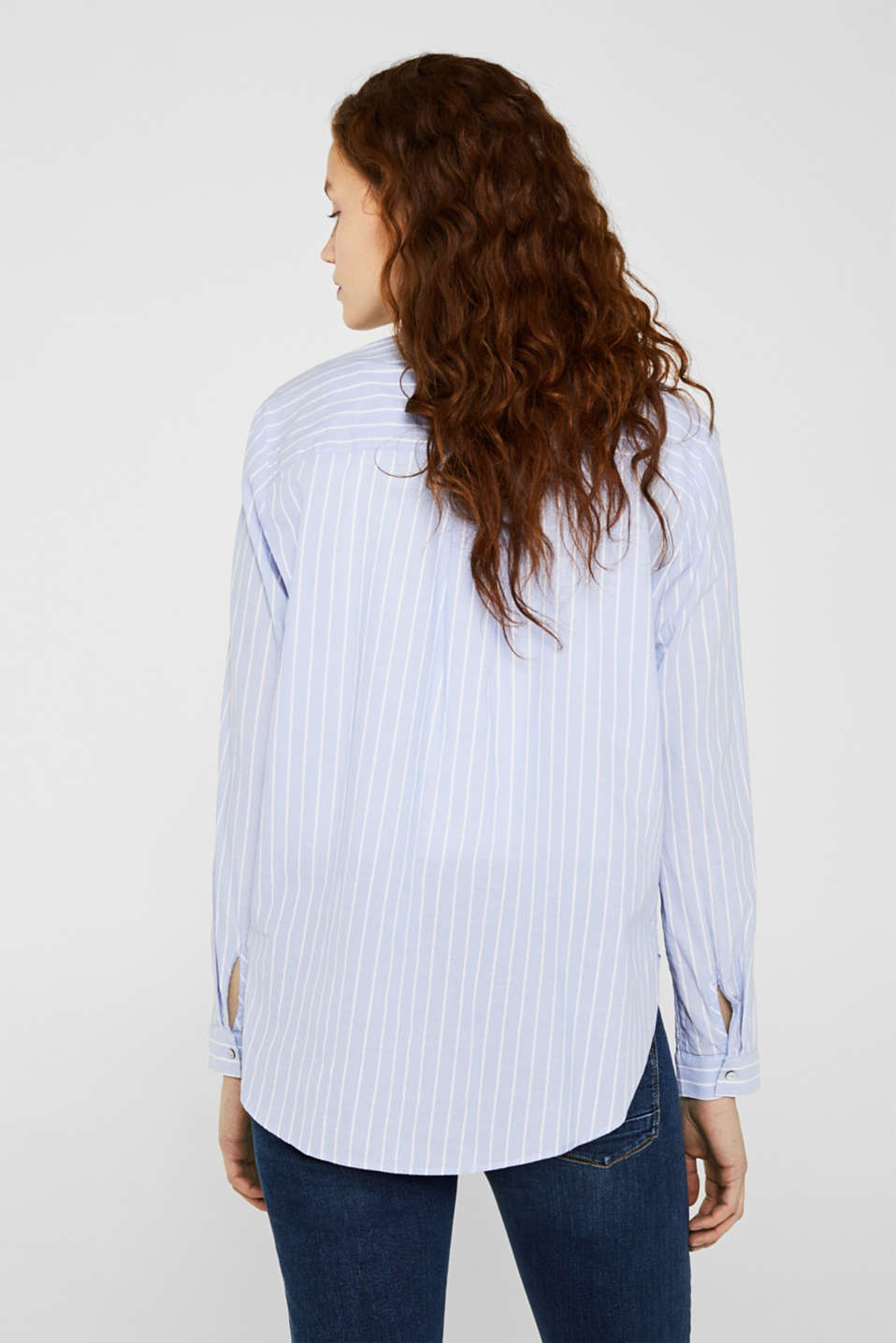 Striped blouse in 100% cotton, LIGHT BLUE, detail image number 3