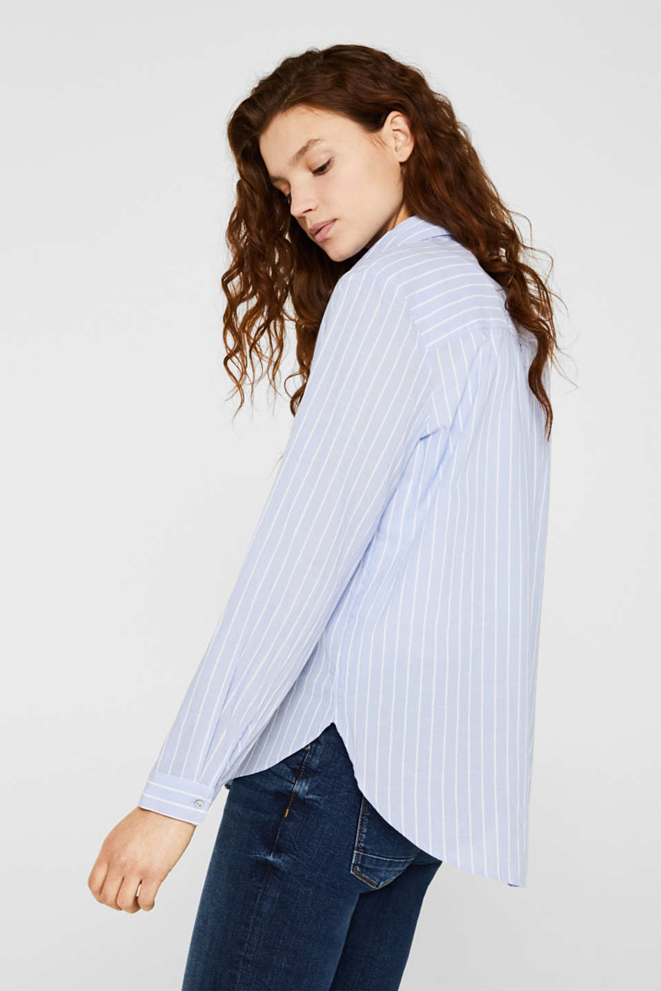 Striped blouse in 100% cotton, LIGHT BLUE, detail image number 5