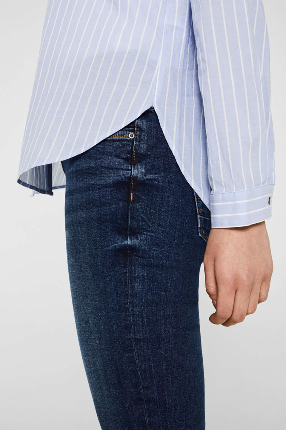 Striped blouse in 100% cotton, LIGHT BLUE, detail image number 6