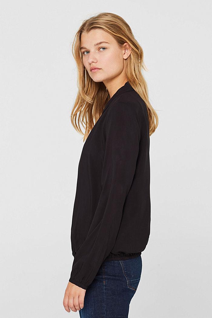 Elasticated lapel blouse, BLACK, detail image number 0