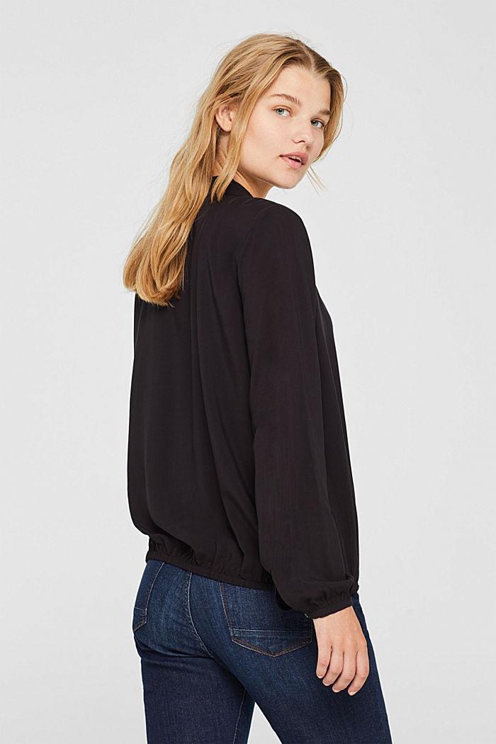 Elasticated lapel blouse, BLACK, detail image number 3