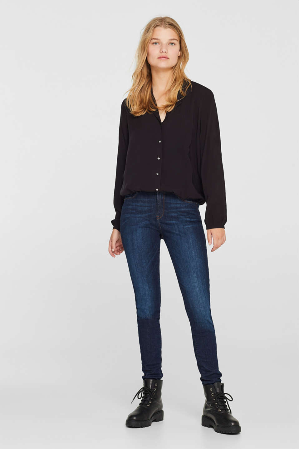 Elasticated lapel blouse, BLACK, detail