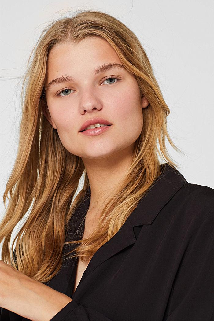 Elasticated lapel blouse, BLACK, detail image number 6