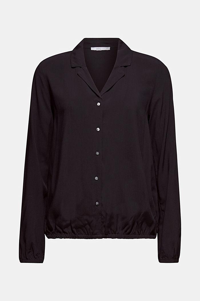 Elasticated lapel blouse, BLACK, detail image number 7