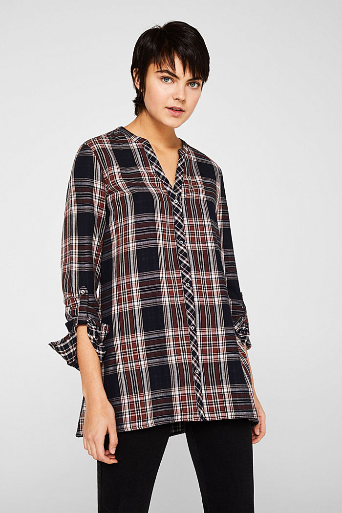 Double-faced check blouse, 100% percent cotton, NAVY, detail image number 0