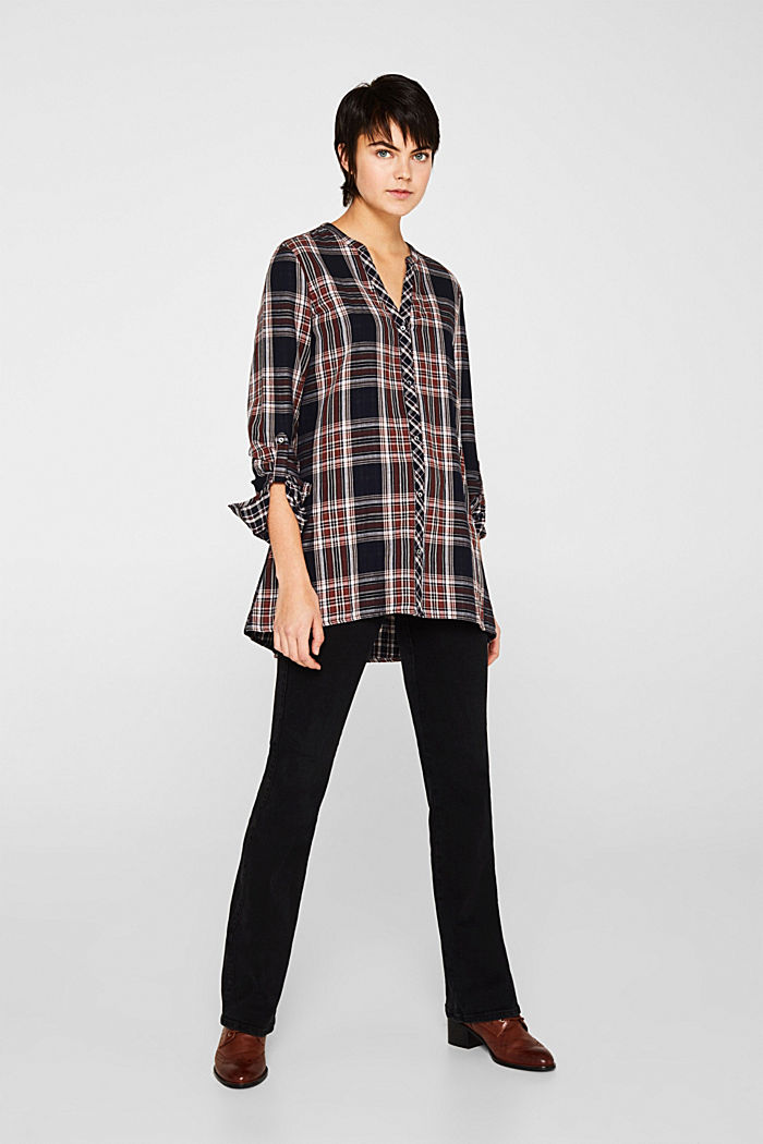 Double-faced check blouse, 100% percent cotton, NAVY, detail image number 5