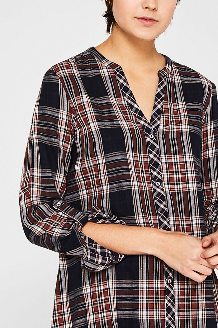 Double-faced check blouse, 100% percent cotton, NAVY, detail image number 2