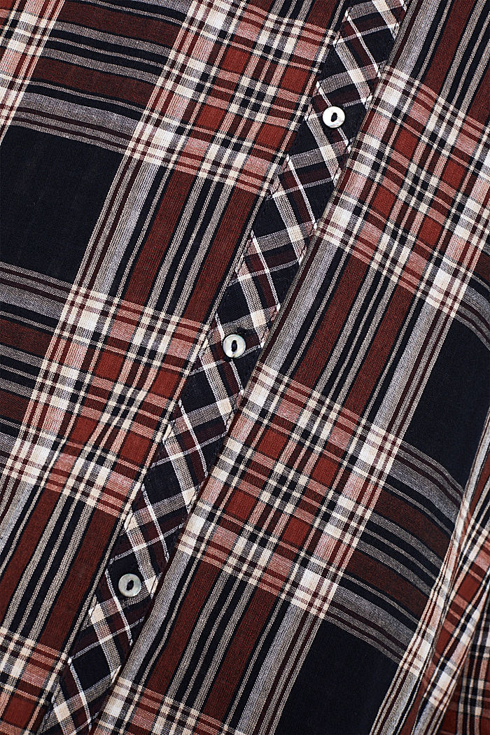 Double-faced check blouse, 100% percent cotton, NAVY, detail image number 4