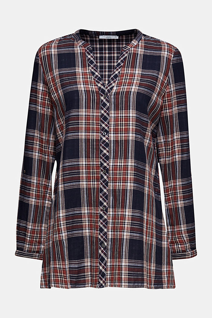 Double-faced check blouse, 100% percent cotton, NAVY, detail image number 6