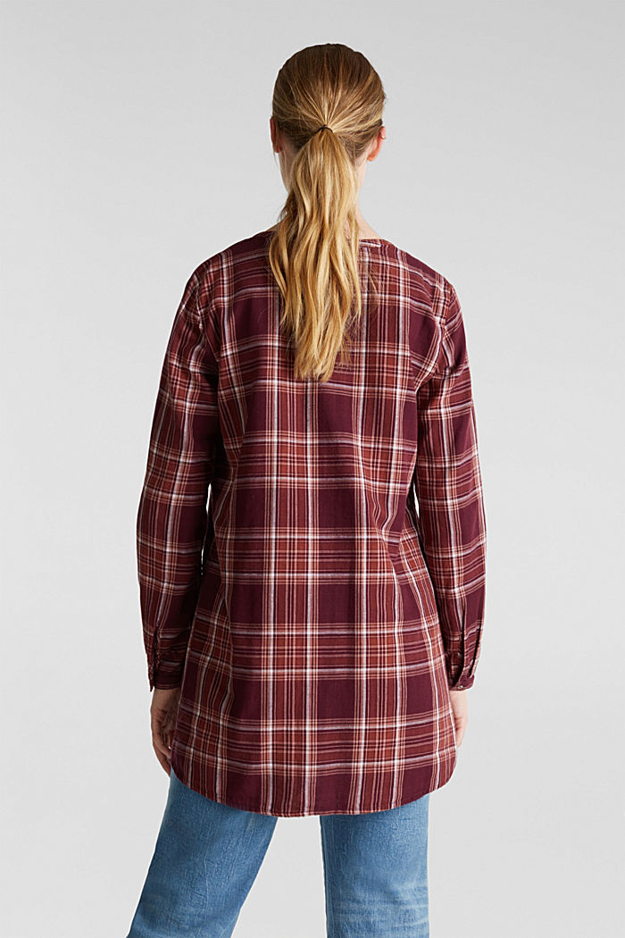 Double-faced check blouse, 100% percent cotton, BORDEAUX RED, detail image number 3