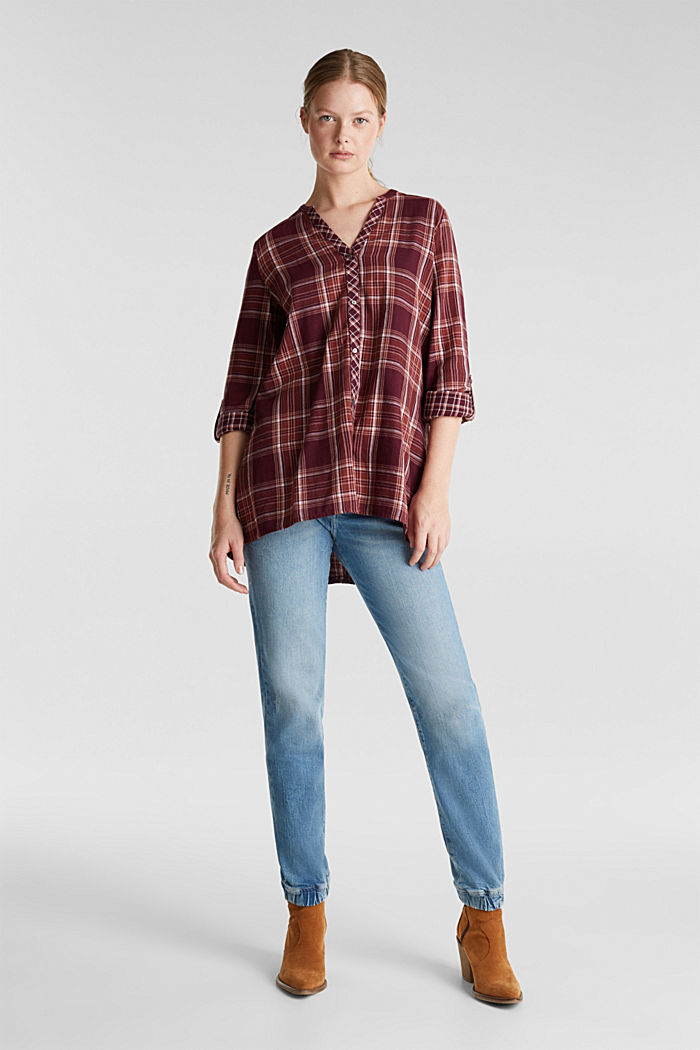 Double-faced check blouse, 100% percent cotton, BORDEAUX RED, detail image number 6