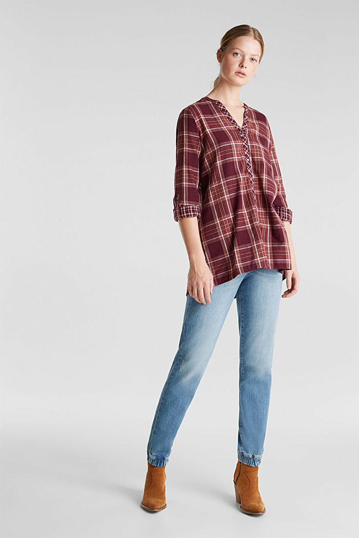 Double-faced check blouse, 100% percent cotton, BORDEAUX RED, detail image number 1