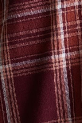 Double-faced check blouse, 100% percent cotton, BORDEAUX RED, detail