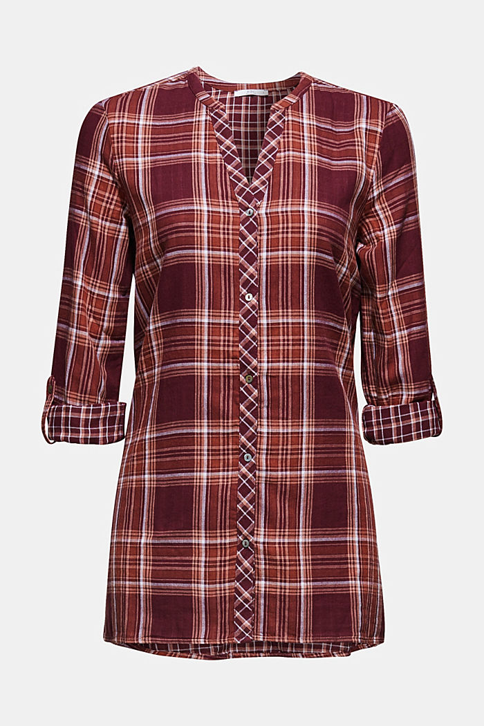 Double-faced check blouse, 100% percent cotton, BORDEAUX RED, detail image number 7