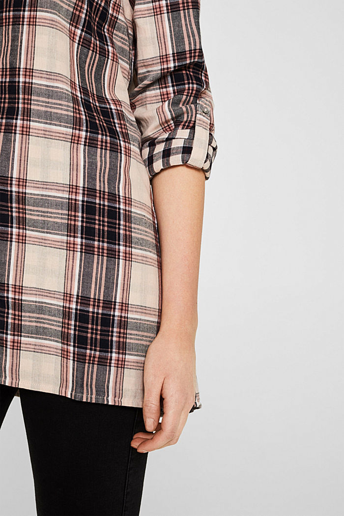 Double-faced check blouse, 100% percent cotton, LIGHT PINK, detail image number 2