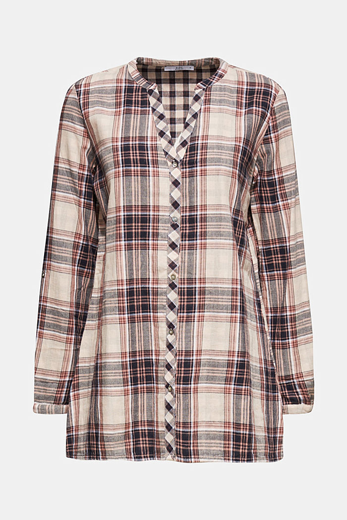 Double-faced check blouse, 100% percent cotton, LIGHT PINK, detail image number 6
