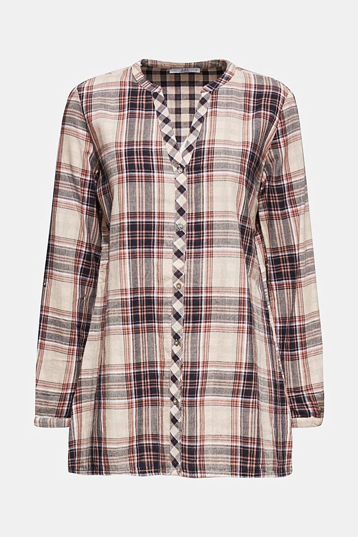 Double-faced check blouse, 100% percent cotton