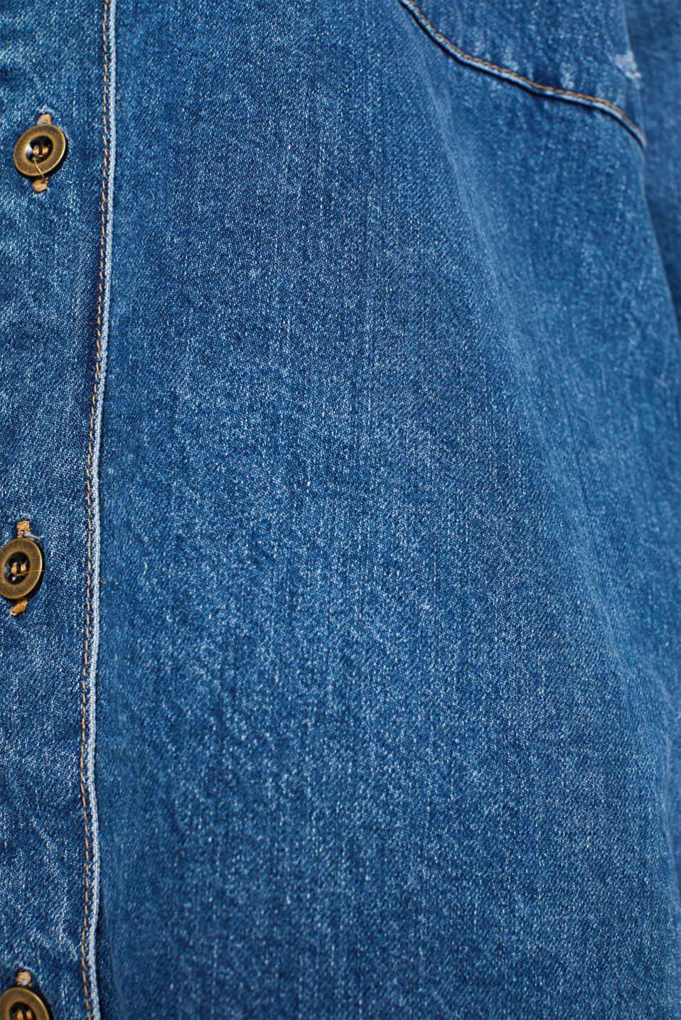 Oversized denim shirt made of pure cotton, BLUE MEDIUM WASH, detail image number 4