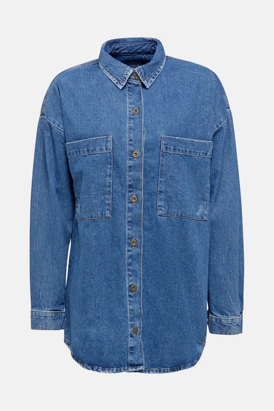 Oversized denim shirt made of pure cotton, BLUE MEDIUM WASH, detail image number 7