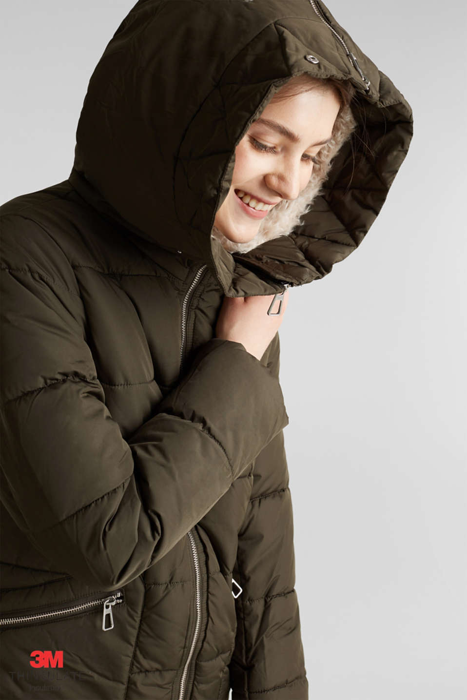 Quilted coat with 3M™ Thinsulate™ padding, DARK KHAKI, detail image number 6