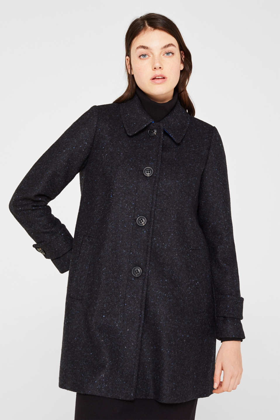 edc - Made of blended wool: Coat with a salt and pepper look
