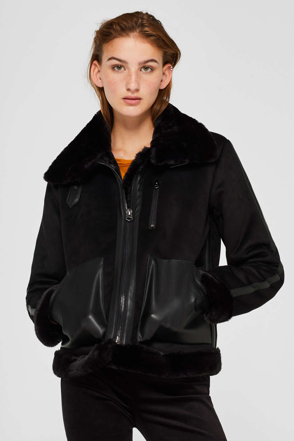 Faux leather jacket with faux fur fur lining
