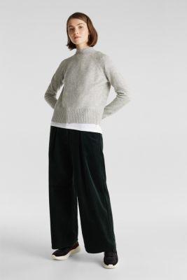 Wool blend: jumper with textured stripes, LIGHT GREY 5, detail