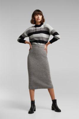 With wool: block stripe jumper, BLACK 2, detail