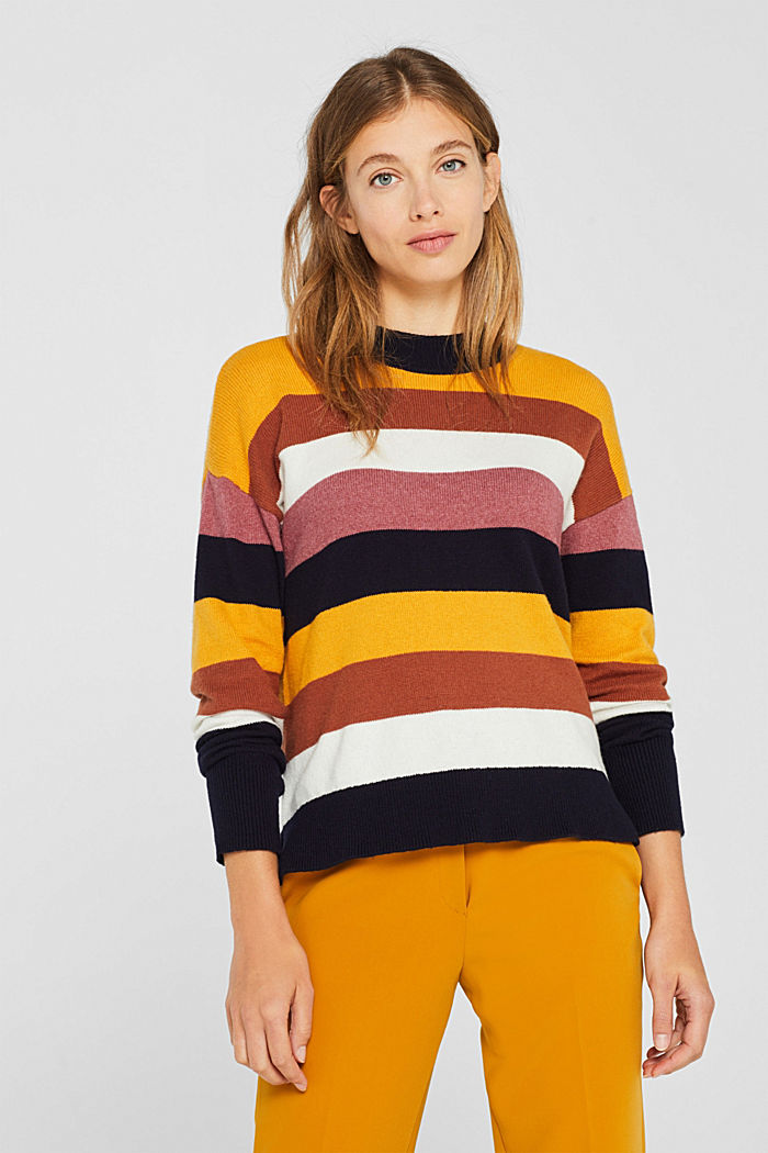 With wool: block stripe jumper, HONEY YELLOW, detail image number 0