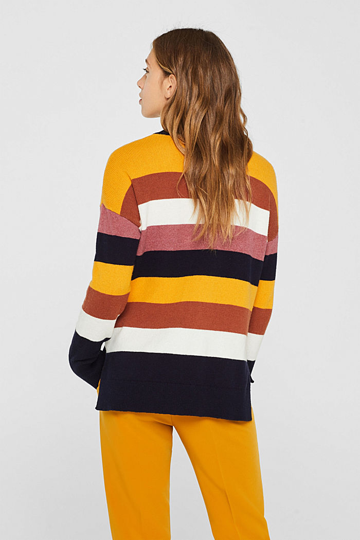 With wool: block stripe jumper, HONEY YELLOW, detail image number 3