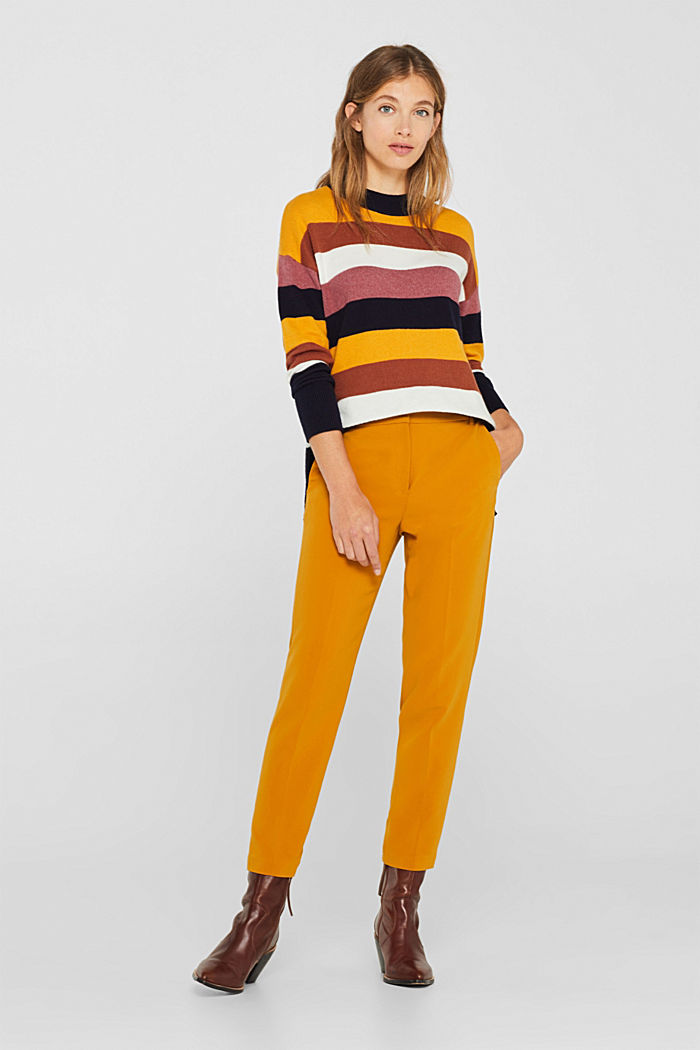 With wool: block stripe jumper, HONEY YELLOW, detail image number 1