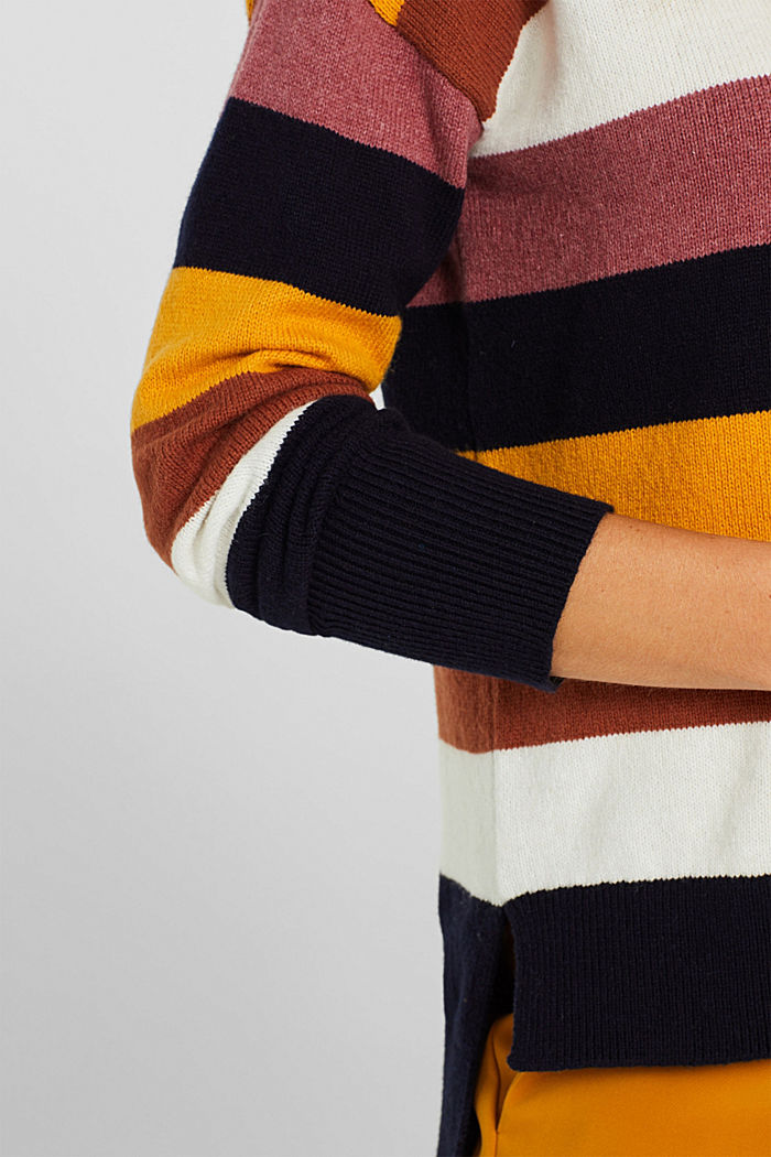 With wool: block stripe jumper, HONEY YELLOW, detail image number 2