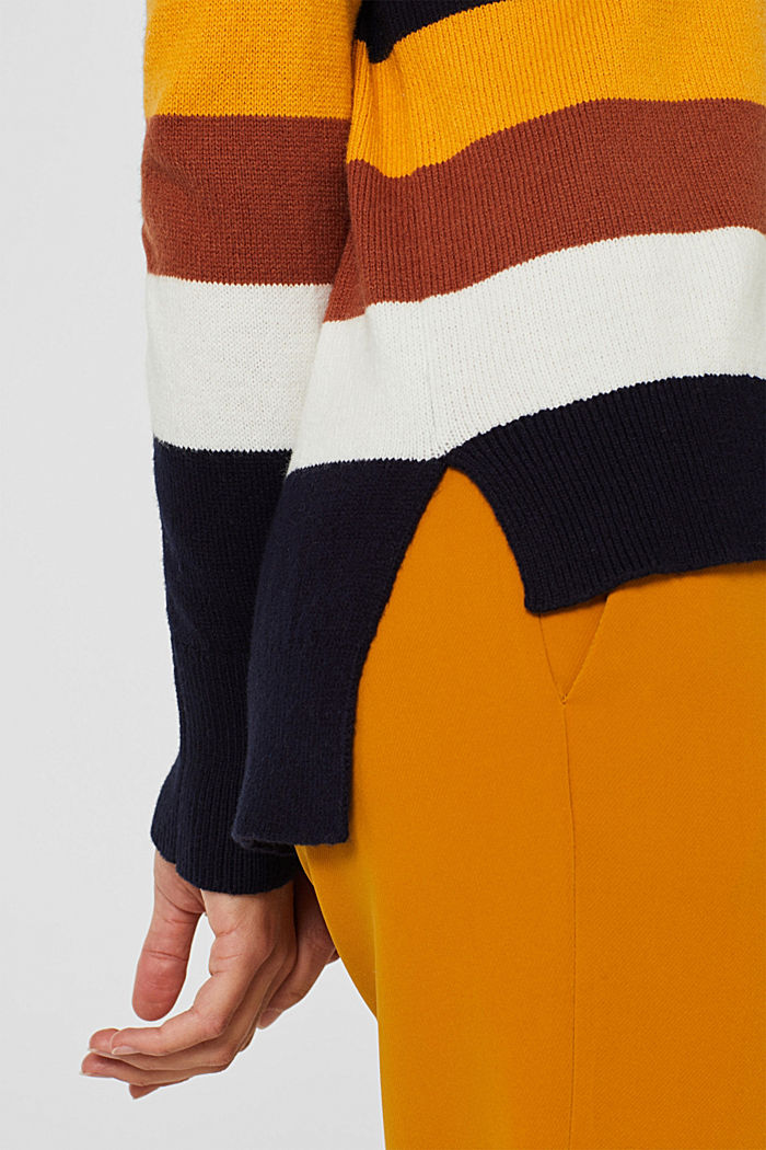 With wool: block stripe jumper, HONEY YELLOW, detail image number 5