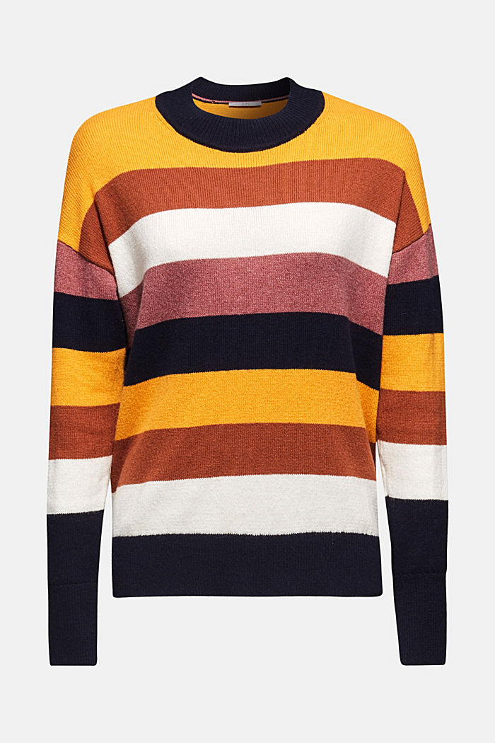 With wool: block stripe jumper, HONEY YELLOW, detail image number 6