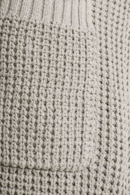 Knit coat with a waffle texture