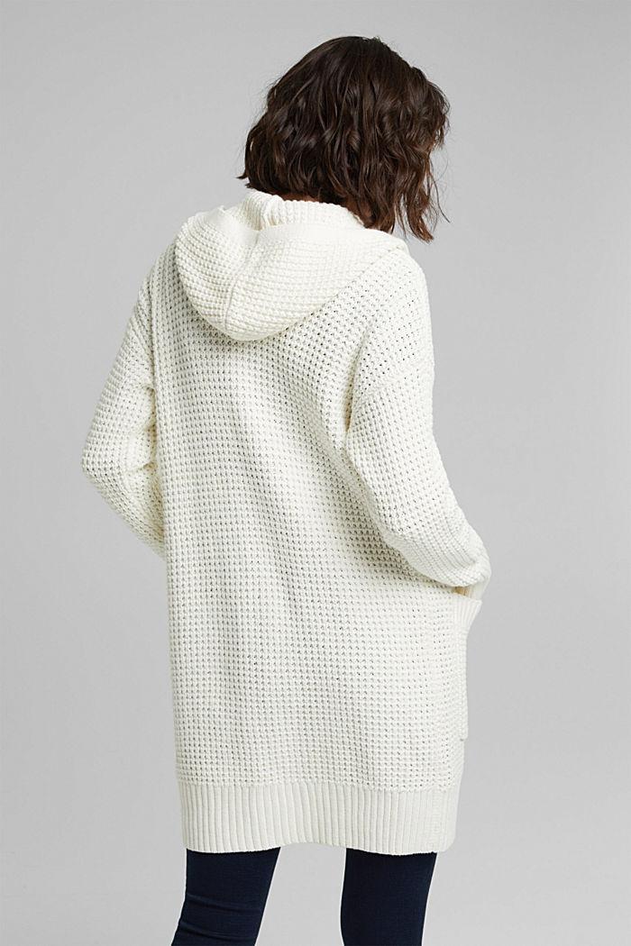 Gebreide mantel met wafelstructuur, OFF WHITE, detail image number 3