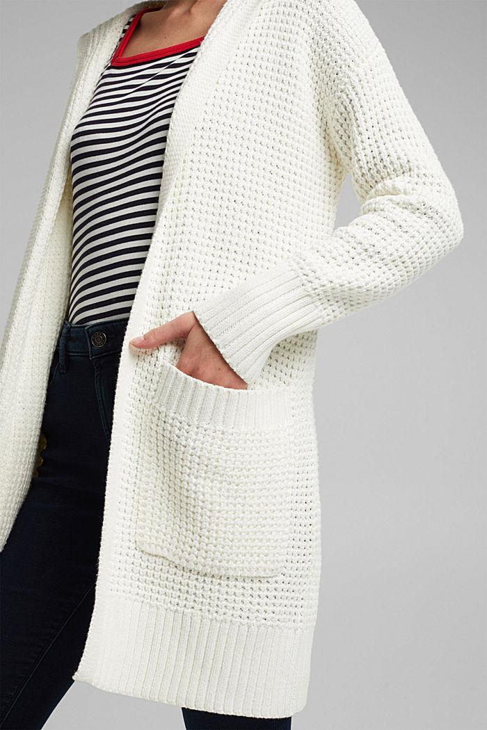 Gebreide mantel met wafelstructuur, OFF WHITE, detail image number 2