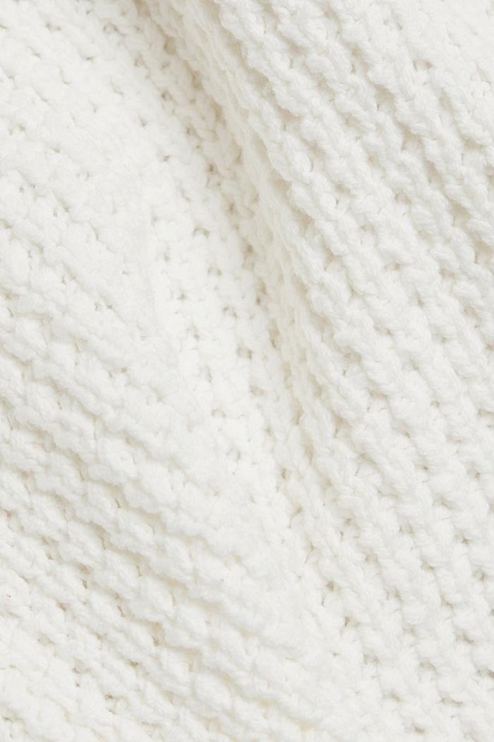 Gebreide mantel met wafelstructuur, OFF WHITE, detail image number 4