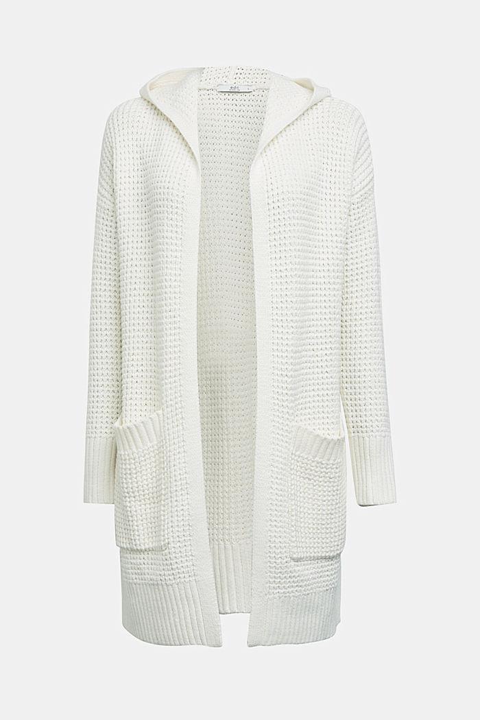 Gebreide mantel met wafelstructuur, OFF WHITE, detail image number 5