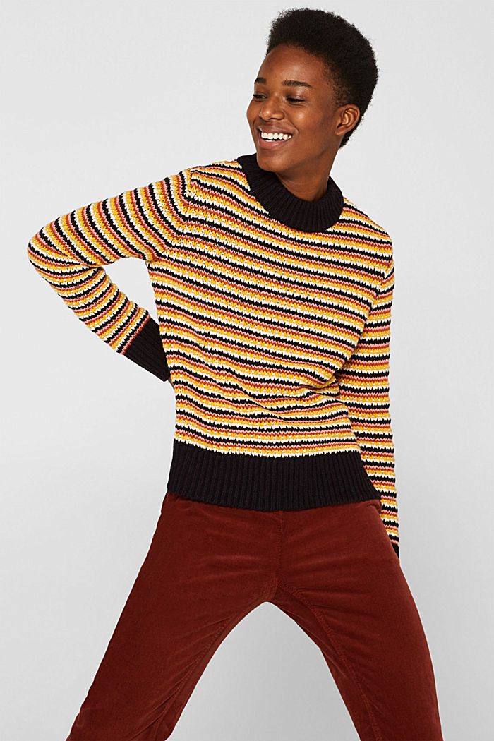 Jumper with multi-coloured stripes, NAVY, detail image number 0