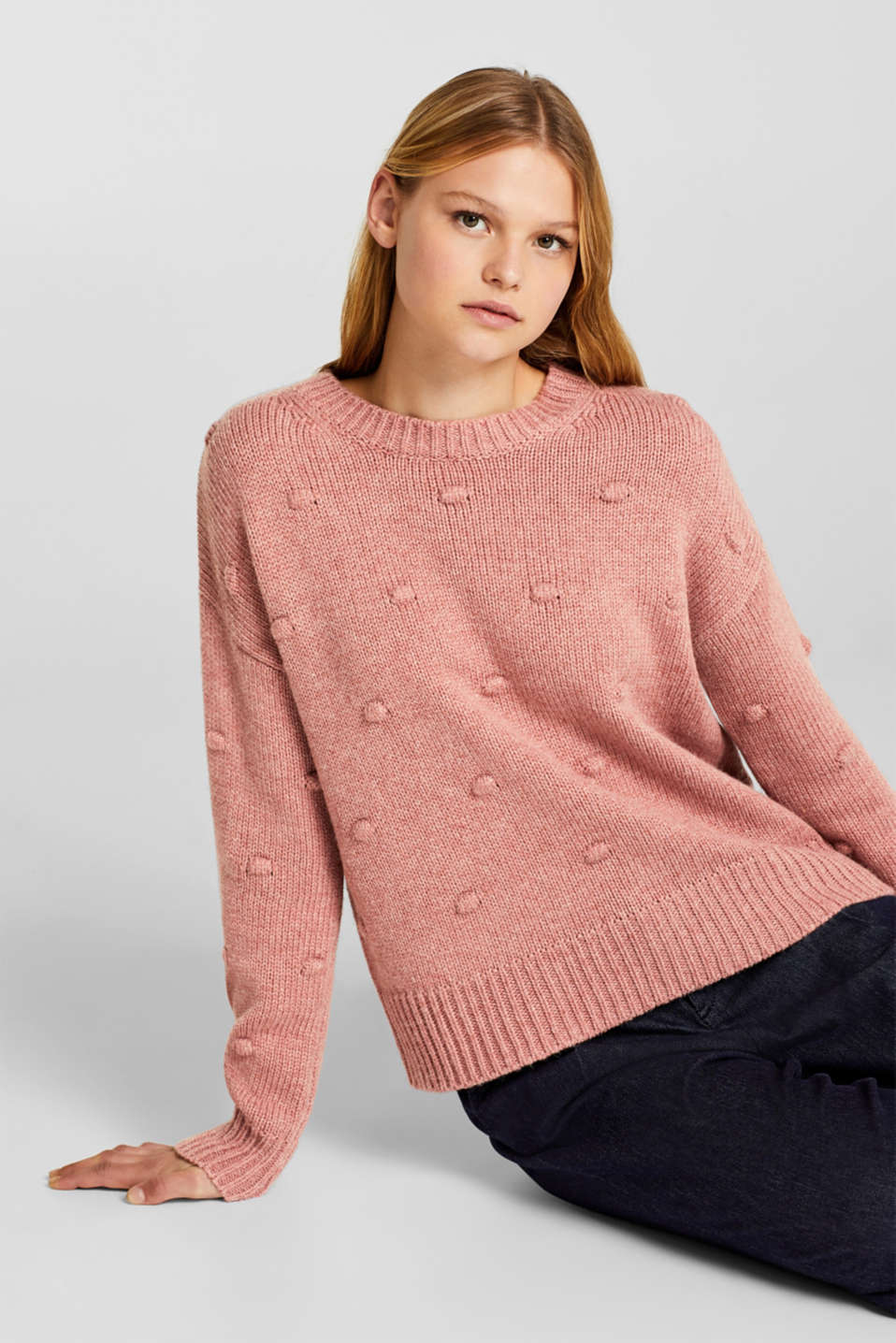 edc - Wool blend: jumper with knops